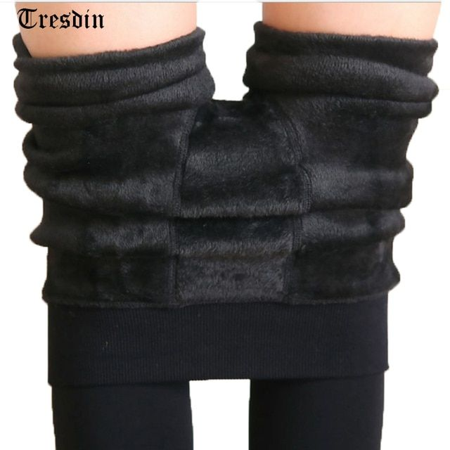 Tresdin Sexy Autumn Winter Fashion Women Plus Cashmere Tight High Quality Knitted Velvet Tights Elastic Slim Warm Thick Tights