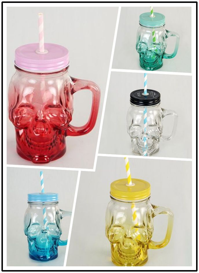 1pcs 401-500ML/CC Colorful Beer Glass Skull Bottles With Lid 17oz Water Bottle Coffee Cup Juice Cool Drink Jar For Party Bar