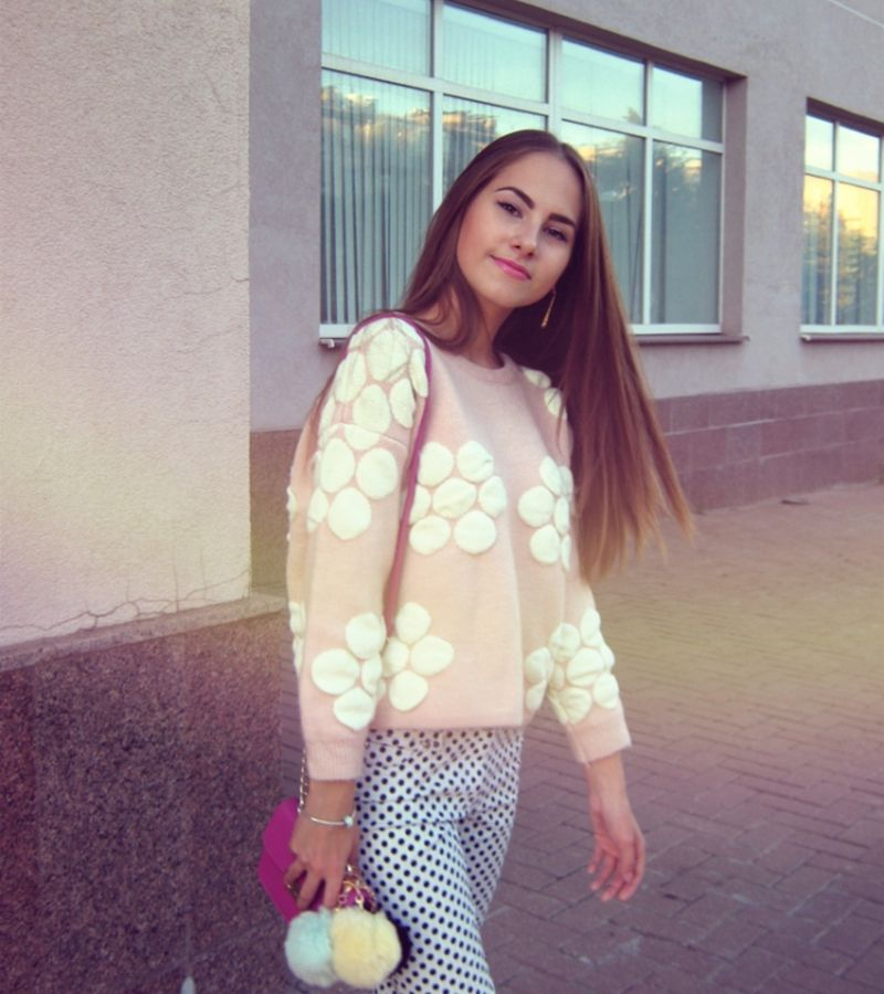 2016 College style Spring autumn floral pullovers sweater  O-neck women thick pullover sweater female knit ourwear
