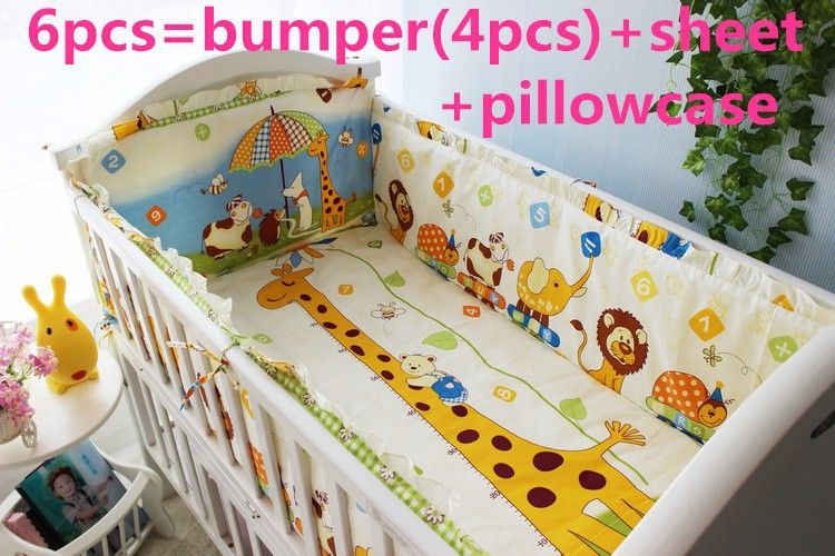 Promotion! 6/7PCS baby cot sets 100% cotton cot bumper  crib baby bedding set   , 120*60/120*70cm