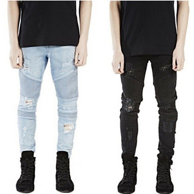 New man ripped Frayed biker jeans for men skinny destroyed Washed Blue Black designer hip hop swag rock Denim pants kanye west