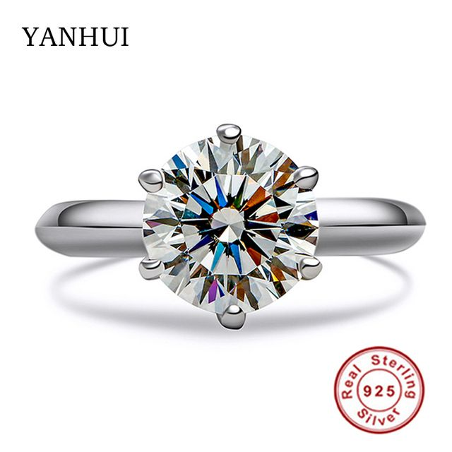 Big Promotion Real Solid Silver Rings Set 8MM 2 Carat SONA CZ Diamond Engagement Ring 925 Jewelry Wedding Rings for Women JZ2906
