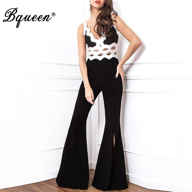 Bqueen 2017 New Fashion Deep V Hollow Out Vest Boot Cut Pant Sexy Club Bandage Jumpsuit Summer Black & White