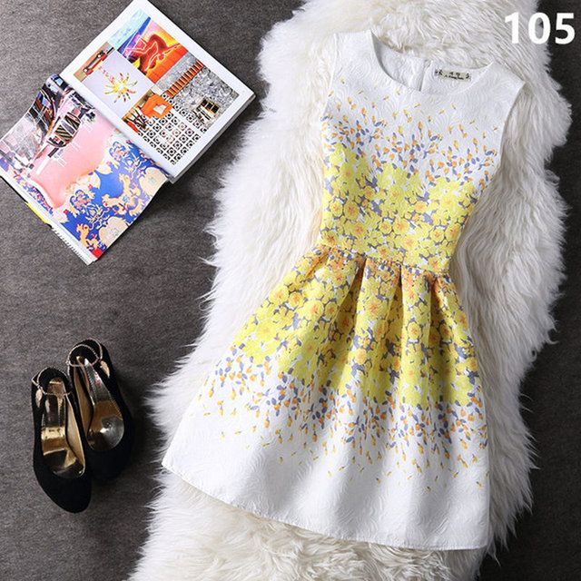 Casual 21 Colors Elegant Jurk Printing Sleeveless Vest Dress New Vestidos Vintage Women Tutu Short Dresses Strand Jurkjes LW071