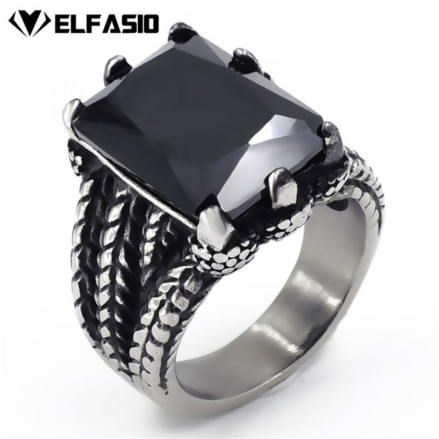Mens Stainless Steel Ring Silver Dragon Black Cubic Zirconia Biker Jewelry size 8-15