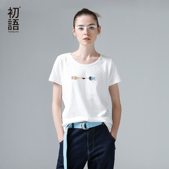 Toyouth 2017 Women Summer Simple T-Shirts Embroidery Fish Pattern O-Neck Basic T-Shirts Female Loose Casual Tees White Color