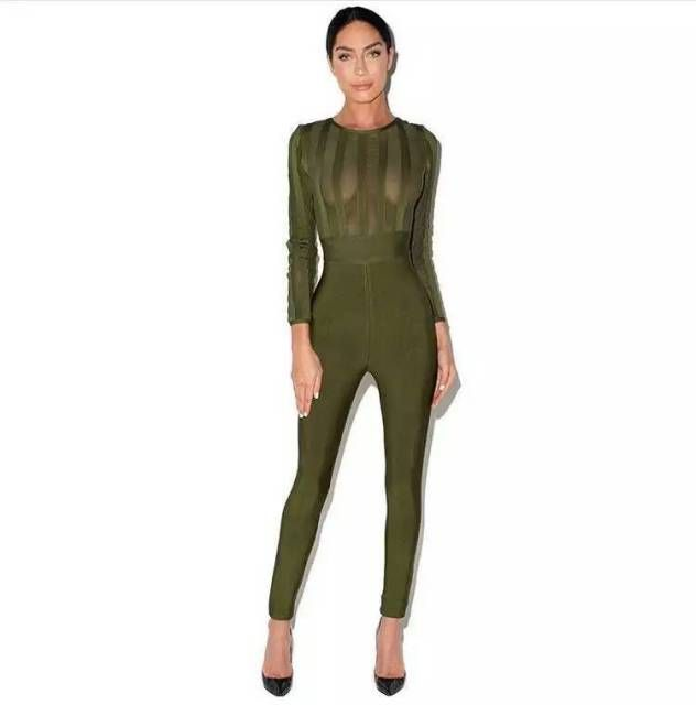 2016 new high quality fashion  green mesh long sleeve   bandage jumpsuits  black wholesale dropshipping