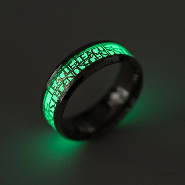 Cool Stainless Steel Men Ring Fashion League of Legends Game LOL Nightclub Jewelry Vintage Punk Glow Luminous Rings For Women