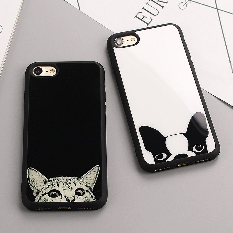 Luxury Simple Cat dog Figure Cases For Iphone 8 8plus 6s Black white Case For iPhone 7 6 Plus 5 5S Soft Silicone Mirror Cvoer