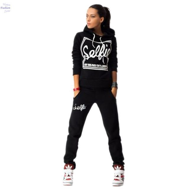 2016 Tracksuit Women Clothing Hoodies Set Letter Print Casual Long Sleeve Track Suit Costumes Pullovers Sweatshirt+Pants 30Z