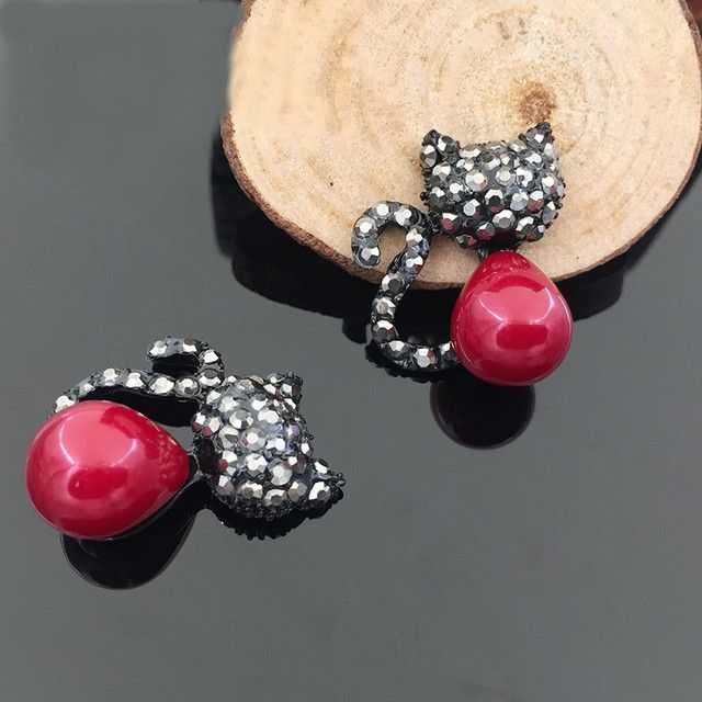 SEA MEW 23mm*26mm Fashion Metal Alloy Rhinestone Cat Connectors Charm Hair Accessories For Jewelry Making Accessories