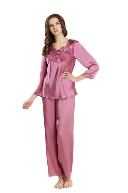 2017 New 100% Real Silk Pajamas Sets for Ladies Summer Sleepwear Solid Nightdress Shirt + Pant  2pcs Lace Deisgn LX80040