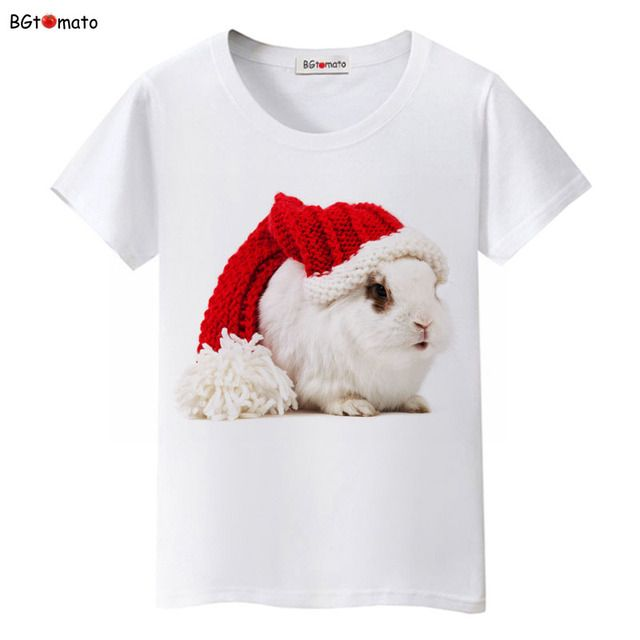 BGtomato lovely Christmas rabbit t shirt original design fashion personality 3D shirts 100% Good quality soft casual tops