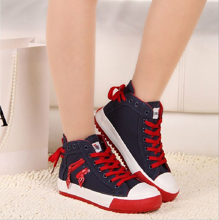 2017 Women Hot Canvas Shoes Female Spring Autumn Front Heel Bow Lace-Up Boots Students Oblique Zippers Causal Shoes for Girls
