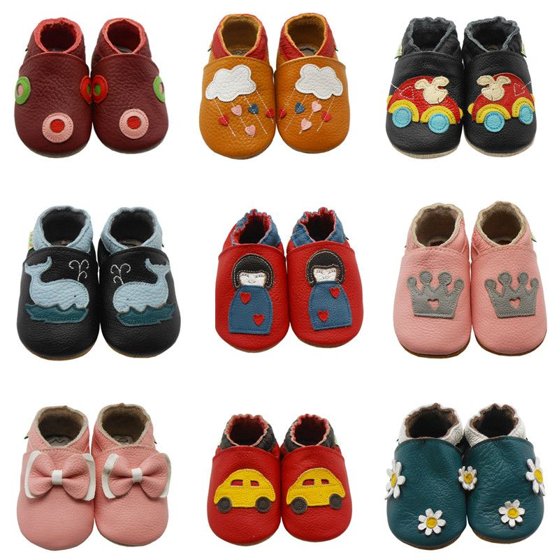 Sayoyo Hot Sell Cow Leather Baby Moccasins Print Soft Soled Newborn 2016 Baby Girl Shoes Boy Toddler First Walker Free Shipping