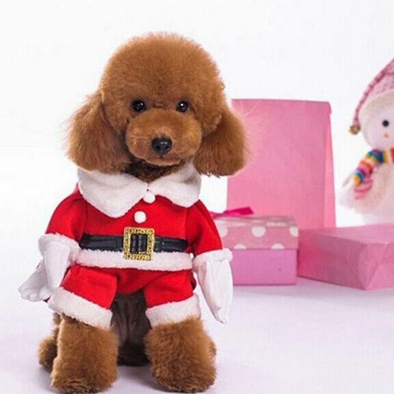 3D Christmas Cat Clothes Pet Dog Cat Costume Santa Claus Costume Winter Christmas Pet Coat Apparel Cotton Clothes for Cat dog