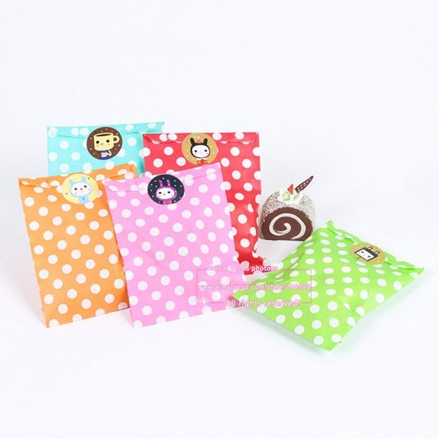"75pcs/lot, 5"" x 7"" 11 Colors Polka Dot Design Popcorn Craft Party Treat Paper Favor Bags for Gifts and Candy"