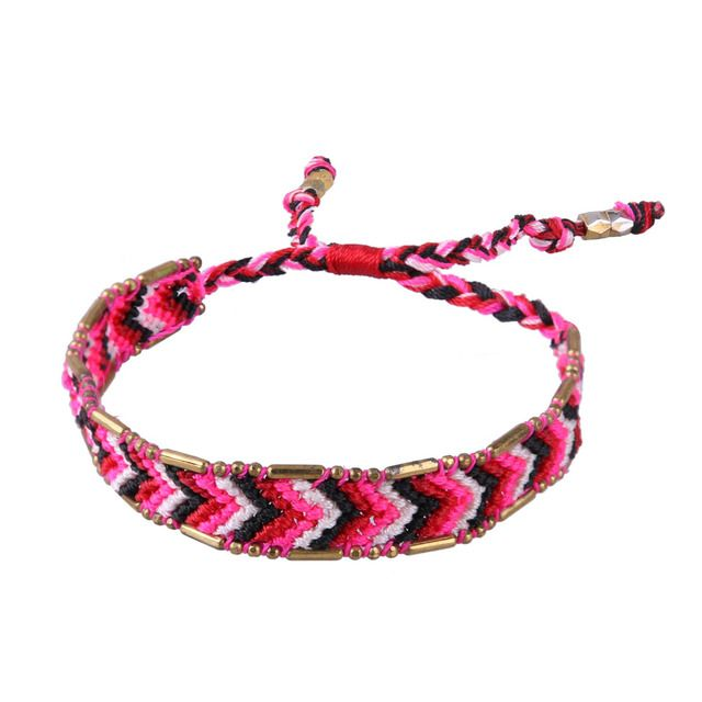 C.QUAN CHI Jewelry 1Pcs Handmade Bohemia Wave Woven Braided Friendship Bracelets Adjustable Cotton Knitted Unisex Charm Bracelet