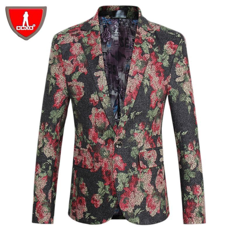 Brand Men Blazers Fashion Leisure Male Suit Jacket Slim Fit Printing Prom Male Singer Stage Clothing Plus Size M-5XL