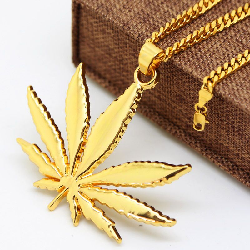 JHNBY Gold-color Hemp leaf pendants necklaces High Quality Fashion Hiphop Popular necklaces 70cm long Chain for men jewelry