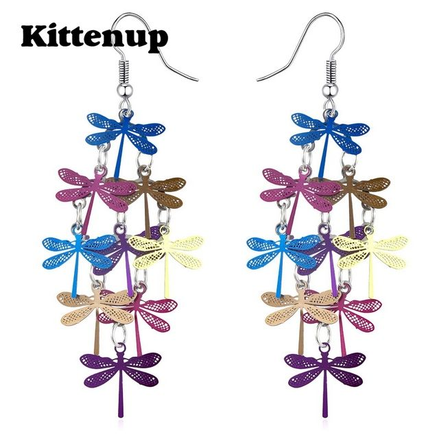 Kittenup Fashion Trendy Multilayer Dragonfly Bohemian Jewelry Drop Earrings for Women Girlfriend