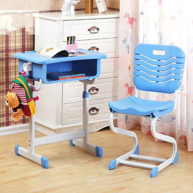 Environmental protection grade material adjustable lifting correcting sitting posture children learning desk and chair set