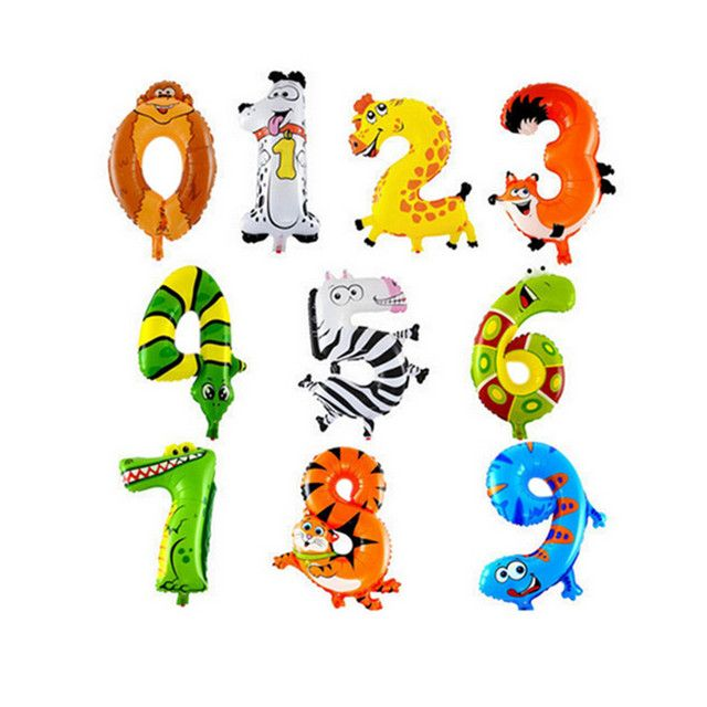 BINGTIAN Cartoon Animal Number Balloons Kids Happy Birthday Party Decoration Balloon Digits Anniversary Wedding Decor Supplies