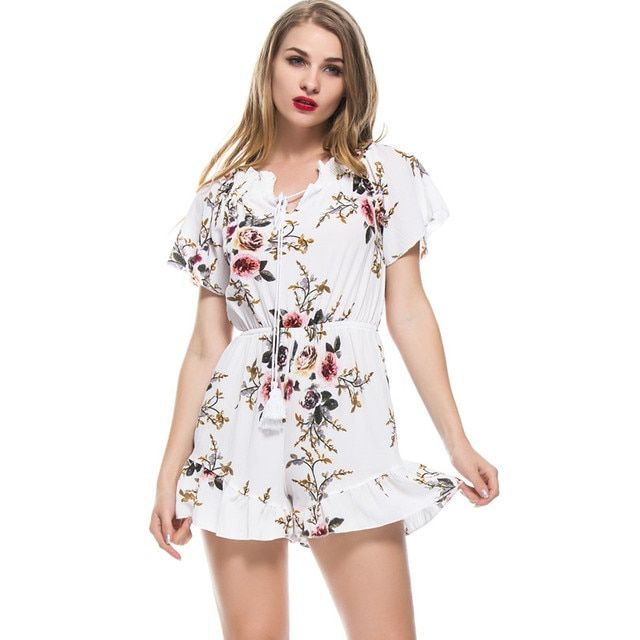 Sexy Summer Rompers Women Playsuit Flower Print Beach Jumpsuit Women Bodysuit Tassel Boho Overalls Femme Leotard Body Feminino 2