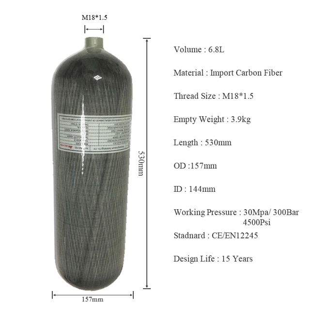 AC168 High Pressure 4500Psi 6.8L Composite Carbon Fiber PCP Paintball Compressed Air Tank Airsofrt Target/ Gun Target paintball