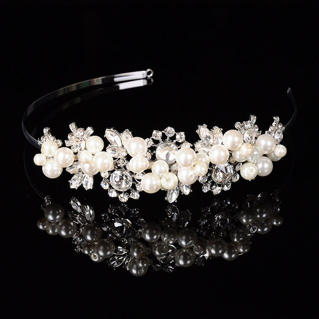 women Jewellery Diamond wedding bride headdress luxury Alloy crown hair accessories cute bead girls acessorio para cabelo