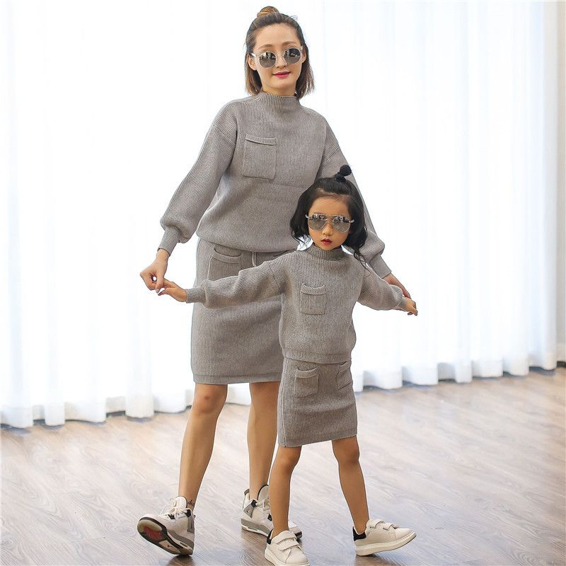 2016 autumn girls women knitted cardigans sweaters pullover + skirts family look clothing set matching mother daughter clothes