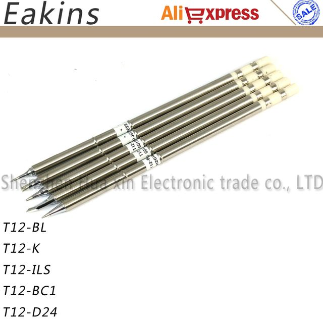 Free shipping Lead-free Iron Tips 5pcs/lot T12 soldering tips solder iron tips for FX951 BAKON 950D soldering station