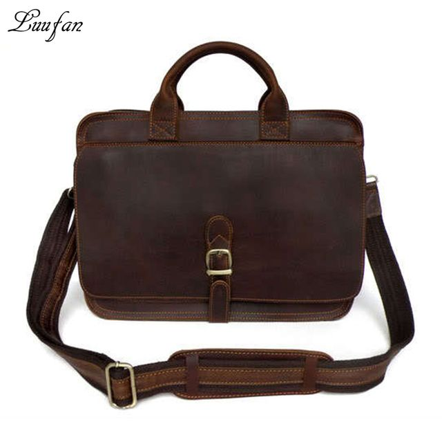 "Men's genuine leather briefcase 15"" Laptop messenger bag real leather work tote bag Double layer Cow leather Business bag"