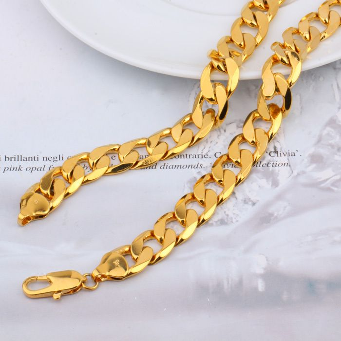 "POP Deluxe Men's 79g 23.6""12mm 24k solid gold GF curb link chain necklace  FREE SHIPPING"