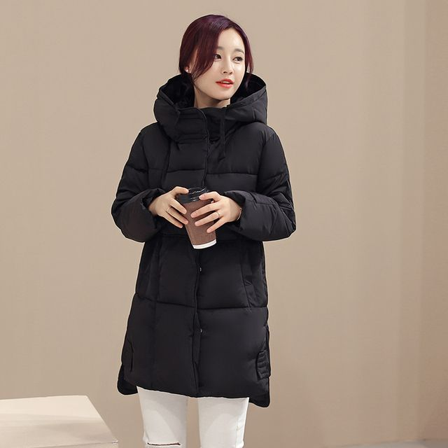 KUYOMENS Women Winter Coat Long sleeve Jackets Splice Hooded Long Jacket Thick Warm Cotton Down jacket Large size Womens Coat