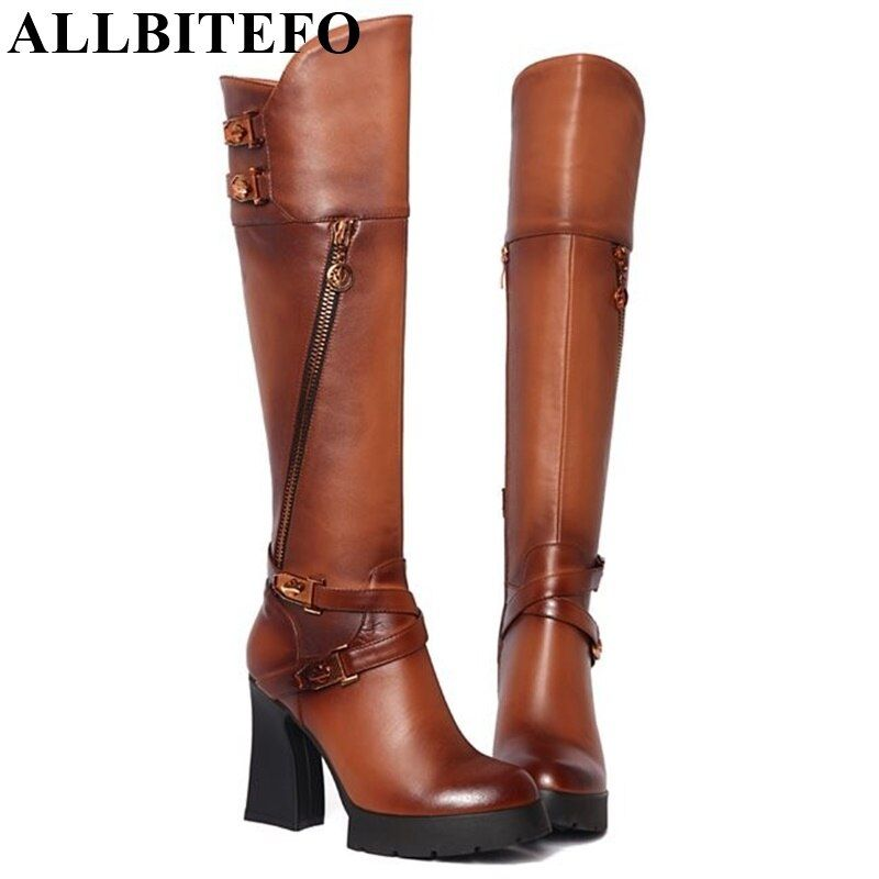 ALLBITEFO Genuine Leather+pu high heel platform buckle women motorcycle boots winter plush snow long boots women knee high boots