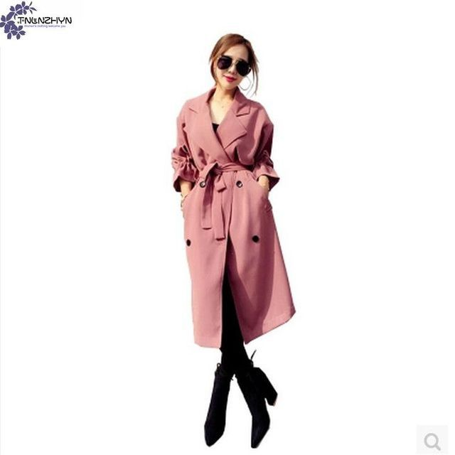 TNLNZHYN Windbreaker Women's clothing coat 2017 spring new fashion large size long-sleeved casual ladies Trench Outerwear TT241