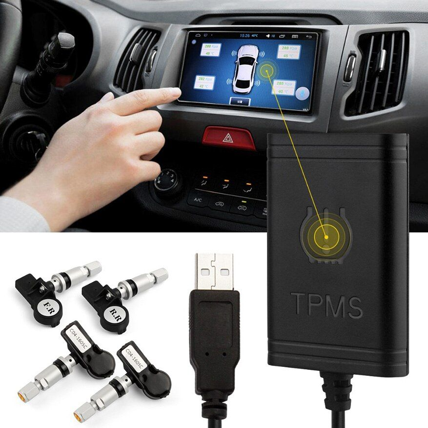 Car TPMS Android Bluetooth For DVD Player Monitor Wireless Tire Pressure Monitoring System with 4 Internal Tyre Sensors