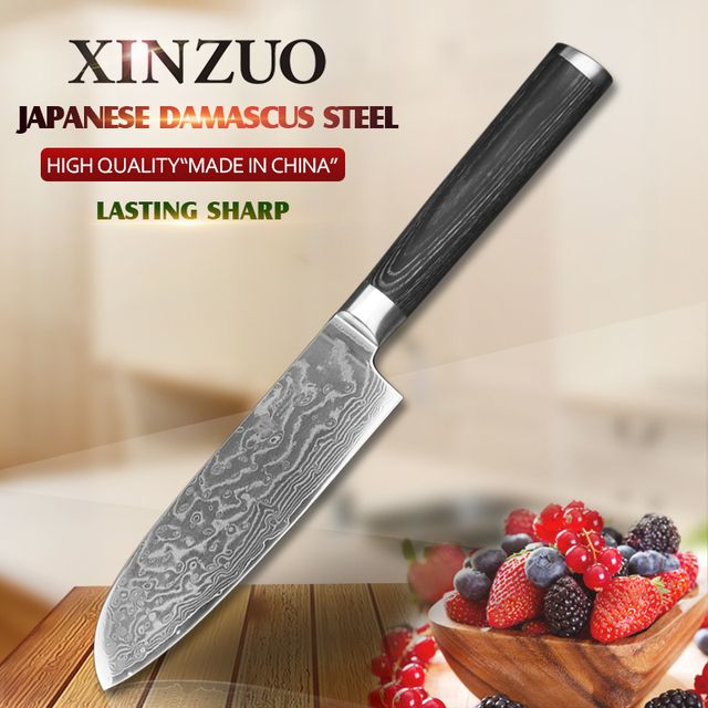 "XINZUO 5"" inches Santoku Knife Japanese VG10 Damascus Knives Kitchen Knife Newarrive Japan Chef Fruit Knife Pakkawood Handle"