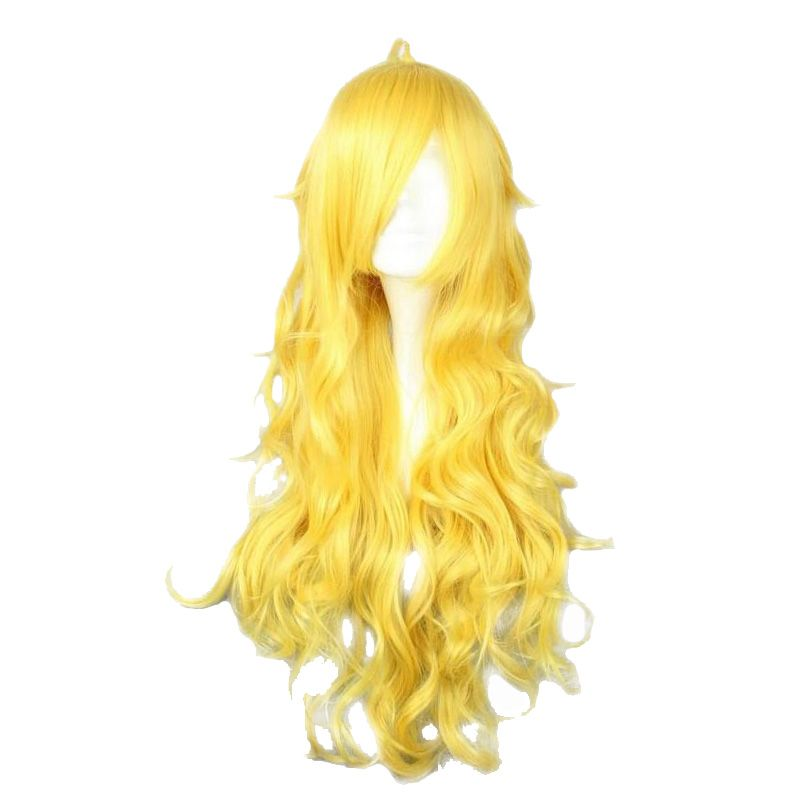 MCOSER RWBY Yang Xiao Long Yellow Long Wavy Synthetic Yellow Color Cosplay Wig 100% High Temperature Fiber Hair
