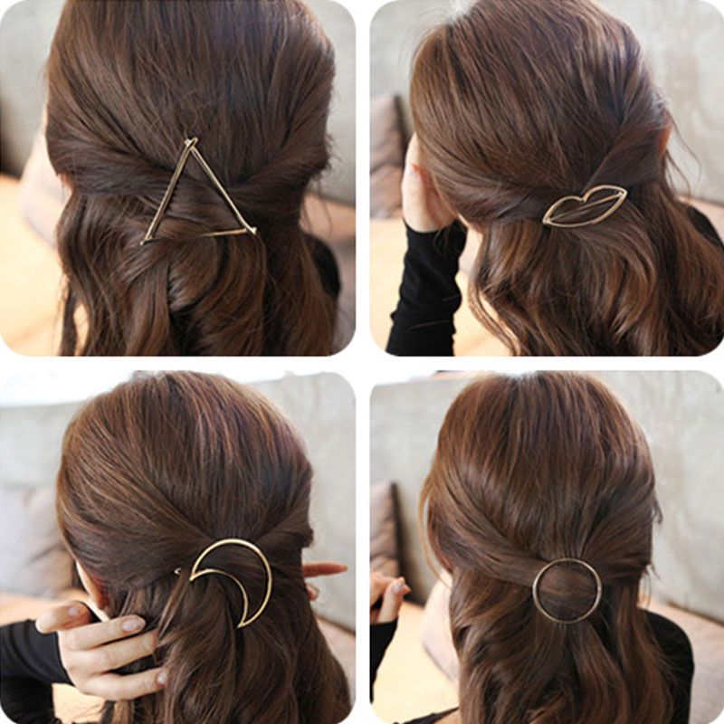 M MISM New Brand Hairpins Triangle Moon Hair Pin Jewelry Lip Round Hair Clip For Women Girl Hairgrip Hair Accessories