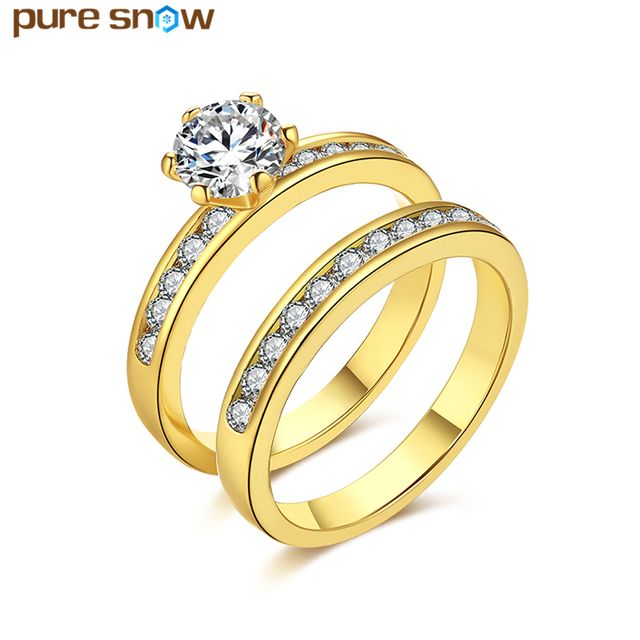 Pure Snow New Fashion Round Engagement Rings Bridal Sets Clear White CZ Rings Women Jewelry Wedding Accessories