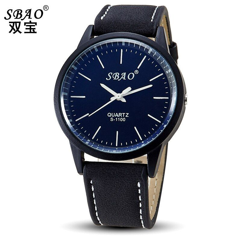 Sbao Red Watch Fashion Men Quartz Watch Water Resistant Top Leather Watches For Men Branded Watches Relojes Hombre 2016