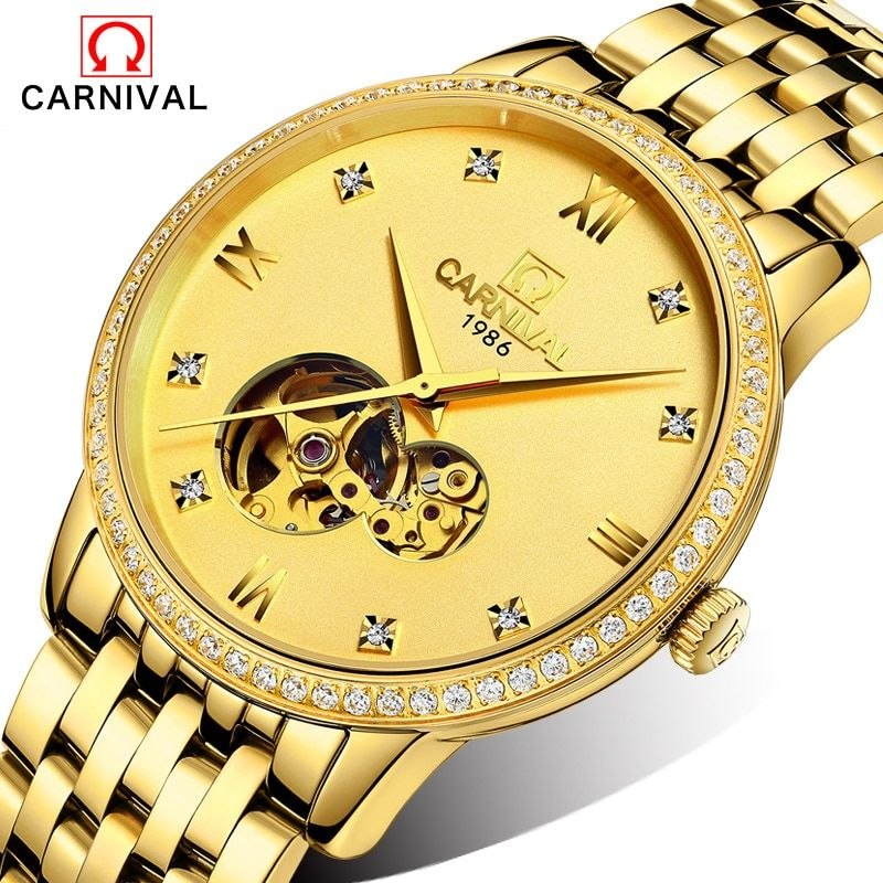 New 2016 Luxury Brand Carnival Stainless Steel Mechanical Watch Men Skeleton Automatic Mechanical Chronograph Watch Wristwatch