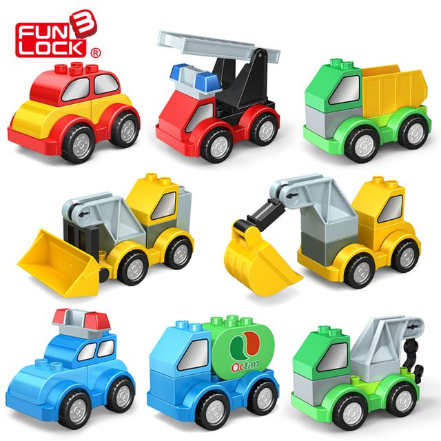 Funlock Duplo Car Building Blocks Assemblage DIY Transform Engineering Traffic Vehicle Kid Toys
