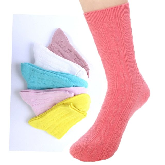 (5Pairs/lot)Fashion In Tube Cotton Women's Socks Ladies Winter Thick/Thermal Warm Socks Female Candy Color Casual Colorful Socks