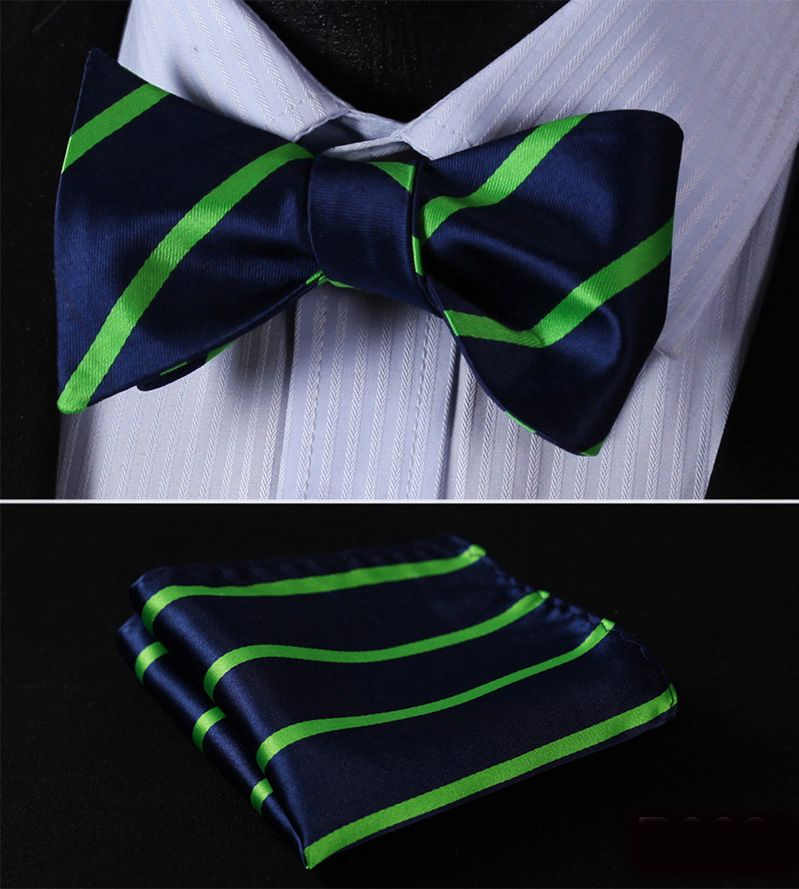 Pocket Square Classic Party Wedding New Striped Solid Men Woven Silk Wedding Self Bowtie handkerchief Set #RS1