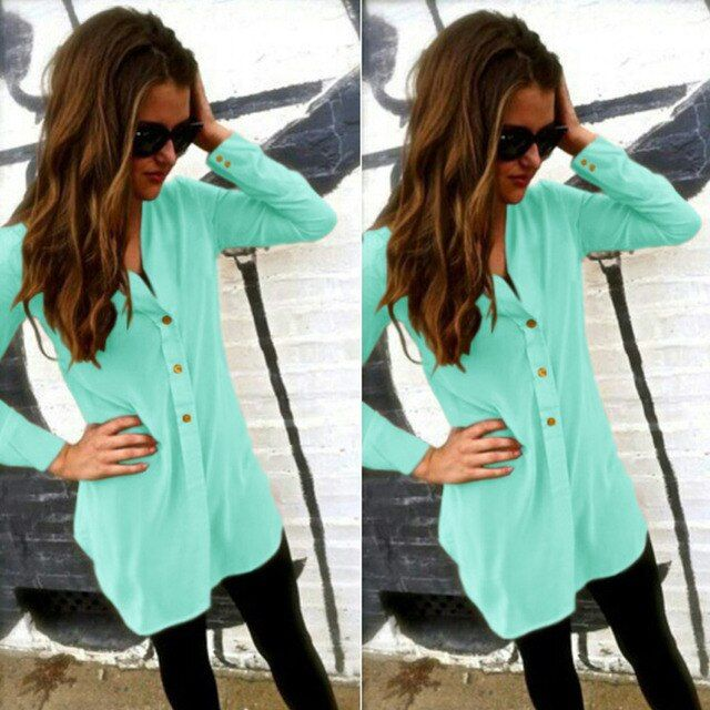summer women chiffon shirt blouse elegant sexy v-neck long-sleeve solid blusas feminina office formal blouse shirt top plus size