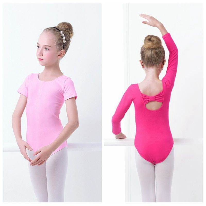 Girls Kids Ballet Leotard Bodysuit Cute Back Bowknot Child Dance Leotards Cotton Gymnastics Leotards
