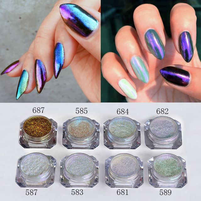 1 Box Shinning Mirror Chameleon Nail Glitter Powders Gorgeous Nail Art Power Dust Chrome Pigment Manicure Decorations